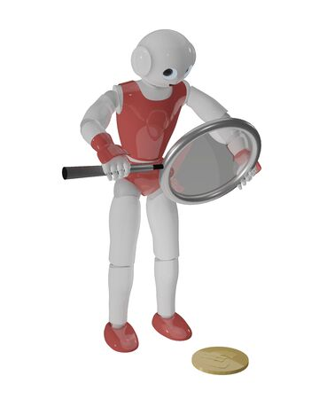 cute 3d robot looks through a magnifying glass at a coin. 3d rendering on white isolated Standard-Bild