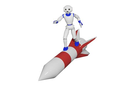 cute 3d robot stands on a rocket. 3d render
