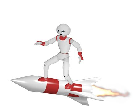 3d robot flies standing on a rocket. 3d rendering isolated on white