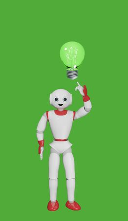 cute 3d robot points his index finger at a glowing light bulb. 3d rendering Standard-Bild
