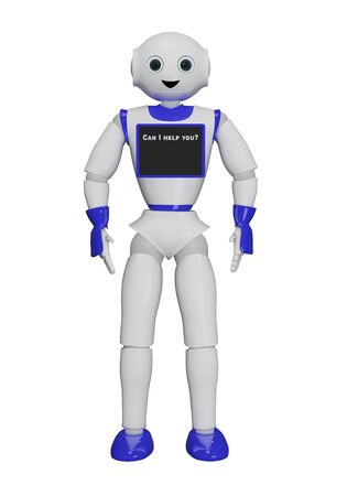 cute 3d robot with a laptop that says