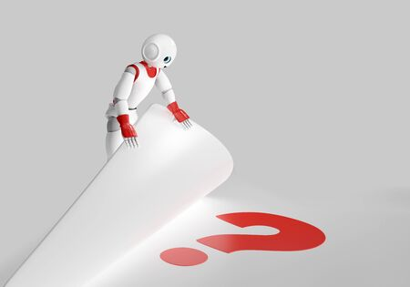 cute 3d robot finds a question mark. 3d rendering isolated on white Standard-Bild