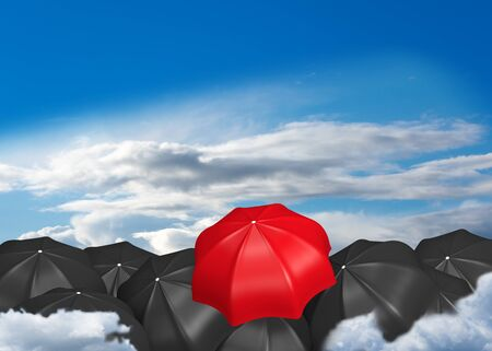 Lots of black umbrellas and a red one that sticks out. 3d rendering Standard-Bild - 149174383
