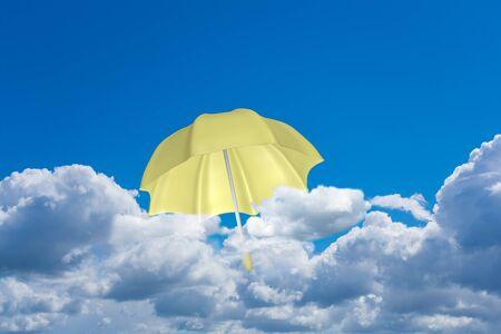 A yellow umbrella flies above the clouds. 3d rendering Standard-Bild - 149174273