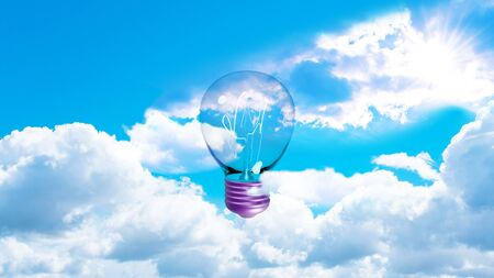 Light bulb with filaments and purple socket in the cloudy sky. 3d rendering Reklamní fotografie - 149175031