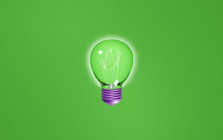 bright green bulb with purple socket on green background. 3d rendering