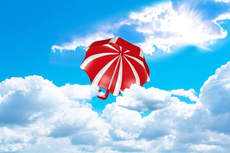 red and white striped umbrella flies out of the clouds towards the sun. 3d rendering Reklamní fotografie - 149175020