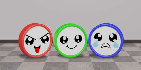 three colorful emoticons in cheeky, funny and sad mood with background. 3d rendering
