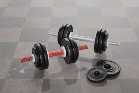 two dumbbells in close-up view are reflected in the floor tiles. 3d rendering Standard-Bild - 150653212