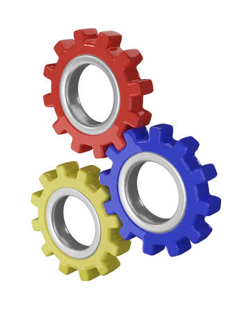 Gear wheels in red, blue and yellow, which mesh with each other. 3d rendering Standard-Bild - 150669232
