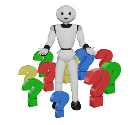 humanoid robot stands in colorful question marks. 3d rendering