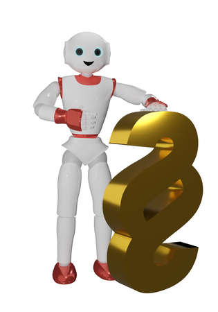 humanoid robot in red and white with a golden paragraph mark. 3d rendering Standard-Bild - 150669234