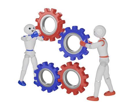 two robots assemble gears. 3d rendering Reklamní fotografie