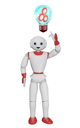 humanoid robot points to a light bulb with gears. 3d rendering Standard-Bild