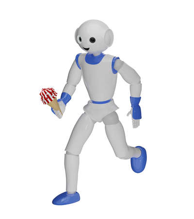 funny robot runs with ice in hand. 3d rendering Standard-Bild - 150669238