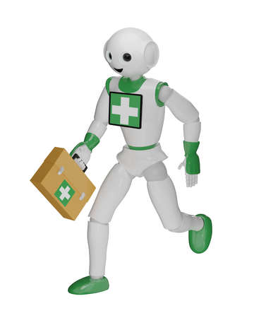 Robot runs with first aid bag. 3d rendering isolated on white Standard-Bild