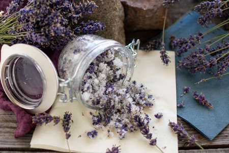 aromatic, fragrant bath salt from lavender Reklamní fotografie - 152440894
