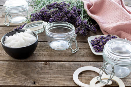 Ingredients for an aromatic, fragrant lavender bath salt Reklamní fotografie - 152440800