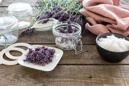 Natural cosmetics: aromatic, fragrant lavender bath salt with ingredients