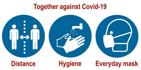 Together against Covid-19 mandatory signs for the coronavirus (distance, hygiene, everyday mask), vector