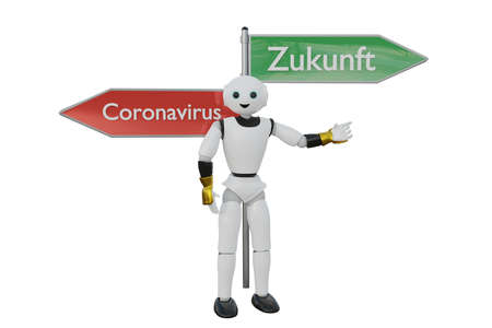 First aid robot in the direction of a sign that says Coronavirus. 3D rendering