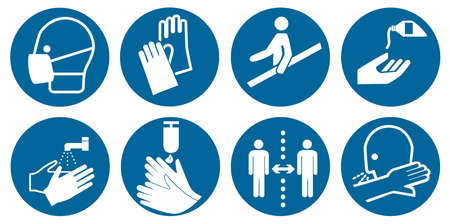 Collection of mandatory signs according to DIN EN ISO 7010, vector file