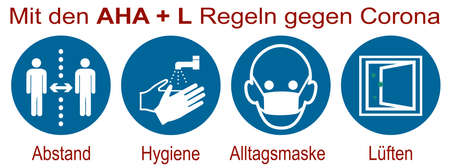 Sign with the new AHA + L rule. German text: