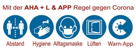 Sign with the AHA + L & Warning APP rule with German text Illustration