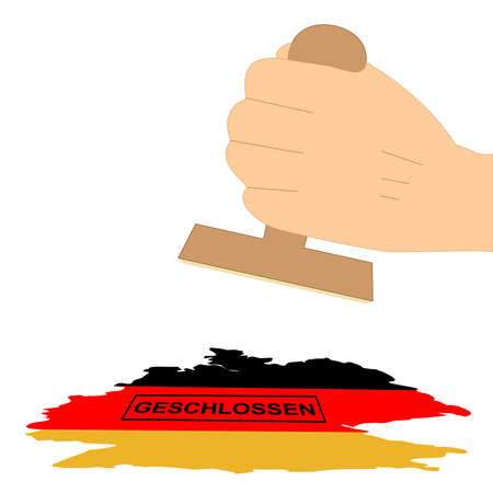 Hand stamps Germany with the German word closed. Vector file
