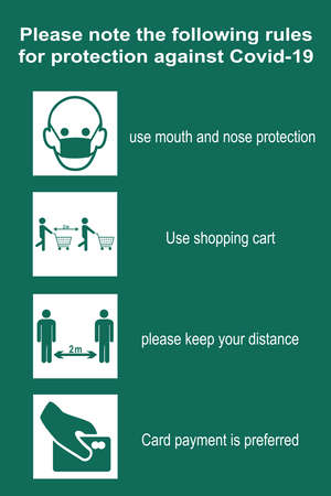Shopping rules to protect against Covid-19. vector file