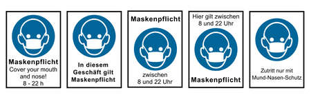 Collection of signs relating to the mask requirement. Vector file
