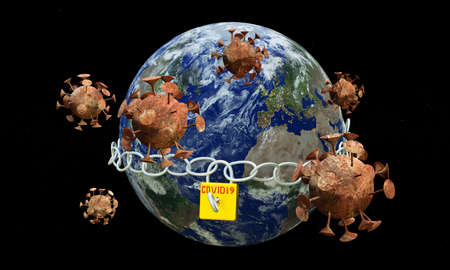 Earth with chain and lock that says Covid 19. Corona viruses fly around it. 3d rendering