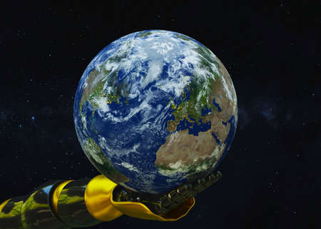 Robotic hand holds the earth in space. 3d rendering Standard-Bild