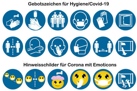 Collection of mandatory signs for Covid-19 and information signs with emoticons. Vector file