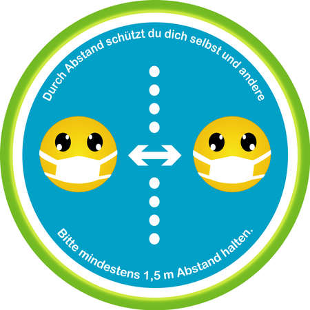 Information sign with emoticons for keep your distance. Vector file Illustration