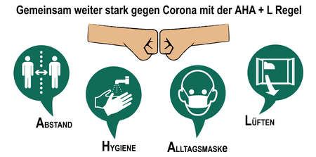 Sign for Corona rules with German text: