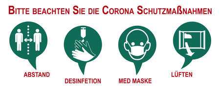 Banner with security measures against Corona. Text in German (safety measures to protect against Covid-19 and distance, disinfection, medical mask, ventilation, warning app, vaccination). Vector file