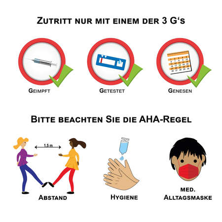 Sign with the 3 G's and the AHA rule against Covid-19. Text in German (access only with one of the 3G's, vaccinated, tested, recovered), (Please note the AHA rule, distance, hygiene. Medical everyday mask). vector Vektoros illusztráció