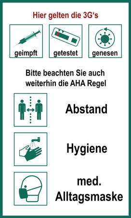 Information sign with the 3G and Aha rule, vector. Text in German (The 3G's apply here, vaccinated, tested, recovered), (Please continue to observe the aha rule, distance, hygiene, medical mask)