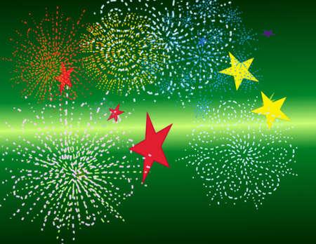 stars and fireworks green Stock fotó