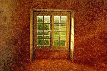 windows opening to attic room Stock Photo