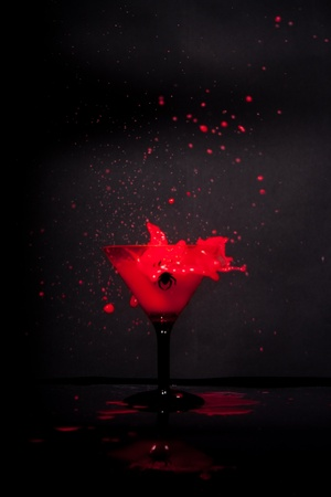 martini glass in the dark photo