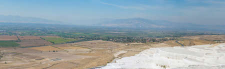 Panoramic view of Pammukale near modern city Denizli, Turkey. One of famous tourists place in Turkey