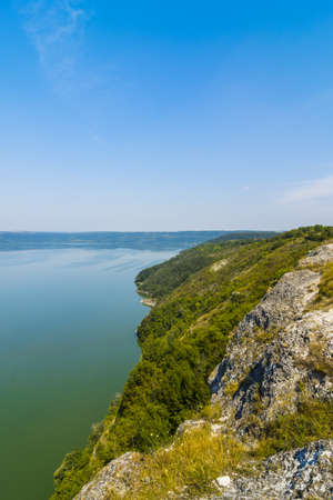 Panoramic view of the fjords and the bay of Bakota from a height. Bakota, Ukraine Stok Fotoğraf - 103040476
