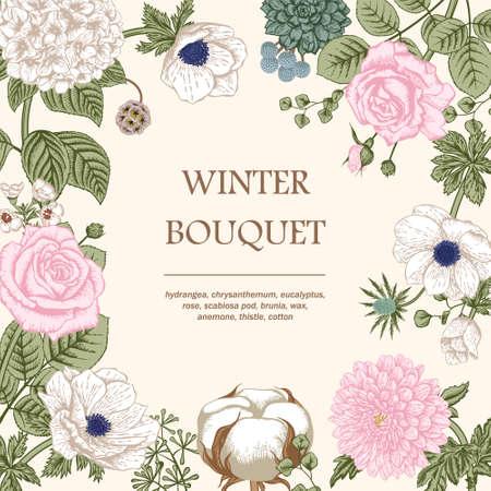postcard background: Bouquet of flowers. Wedding card.