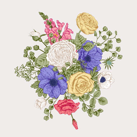 Bouquet of flowers. Wedding card.