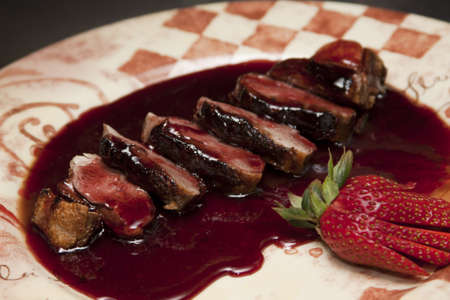 duck in red currant sauce Stock Photo