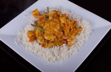 Chicken in Red Thai Curry with Rice