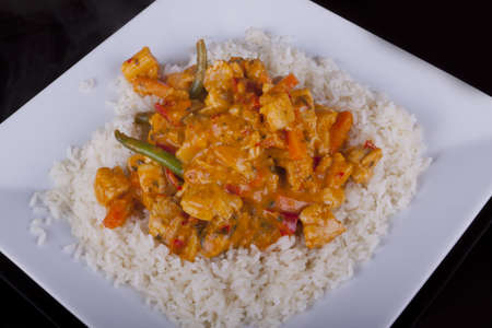 chicken rice: Chicken in Red Thai Curry with Rice