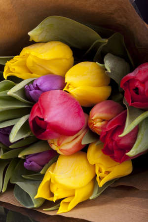 close - up photo of Bouquet of tulips